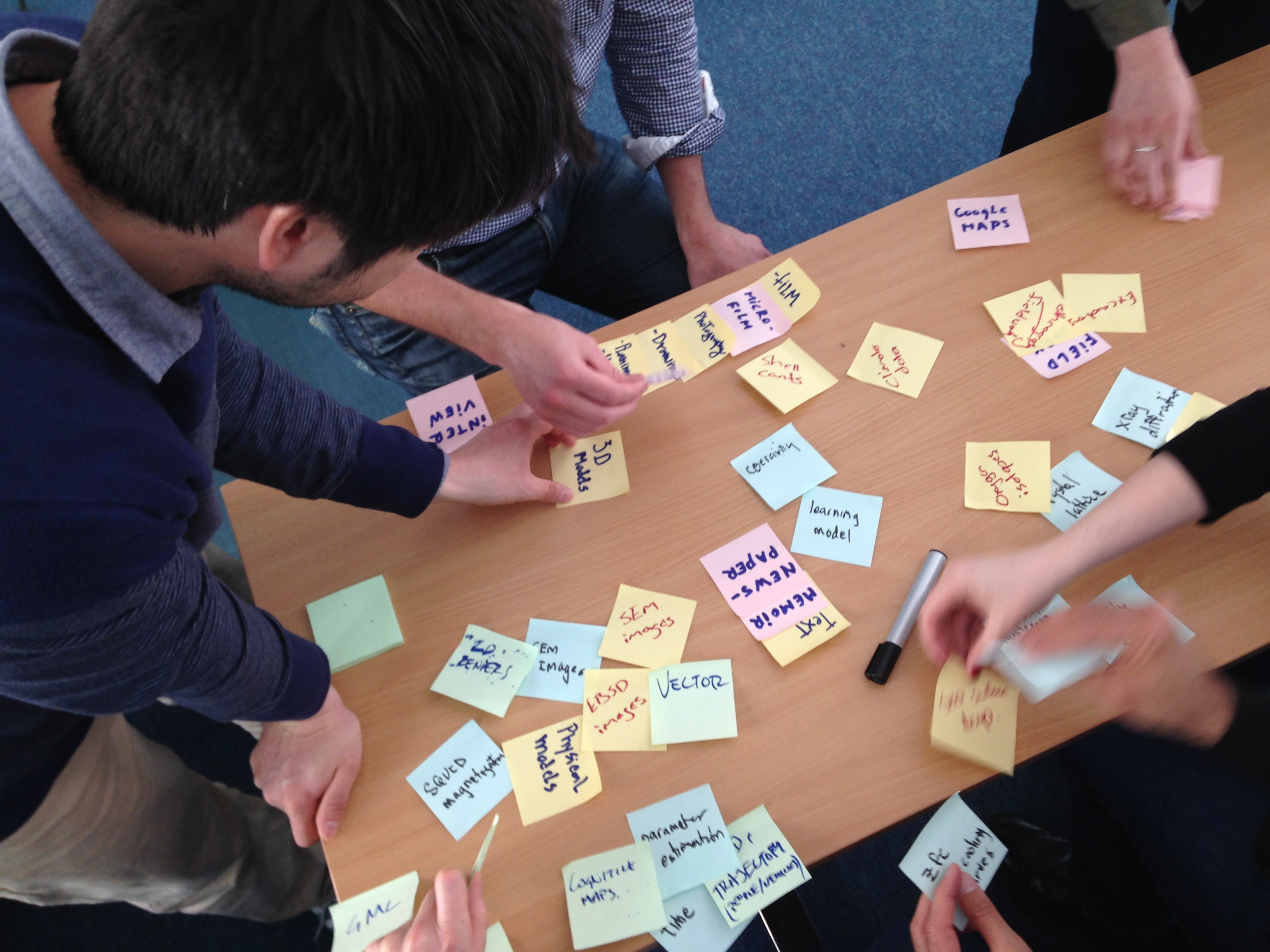 Photo of participants brainstorming with post-it notes at the workshop.